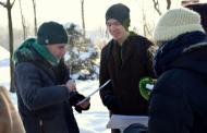 Andrés en Letonia con actividades artísticas con el frío polar
