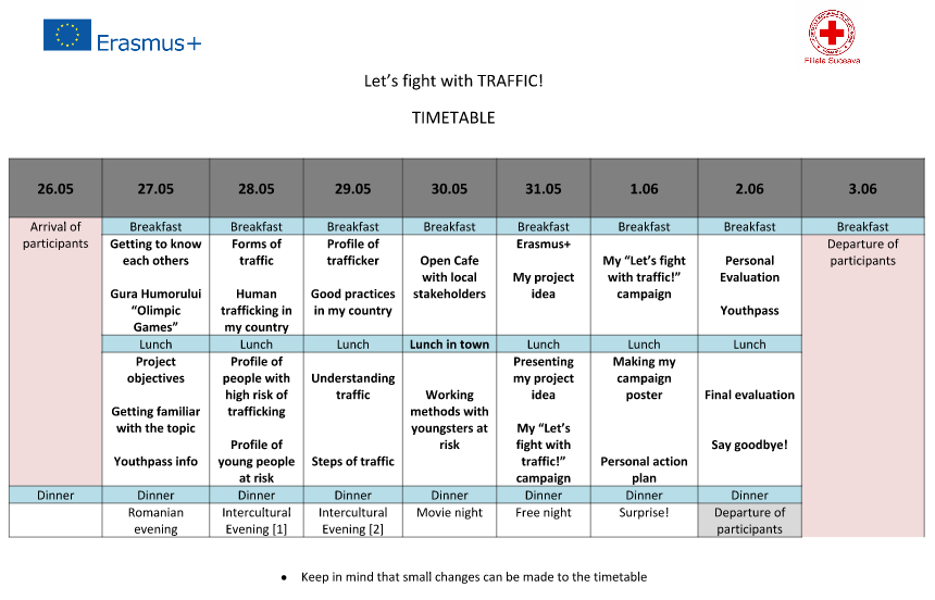 erasmus+ course timetable