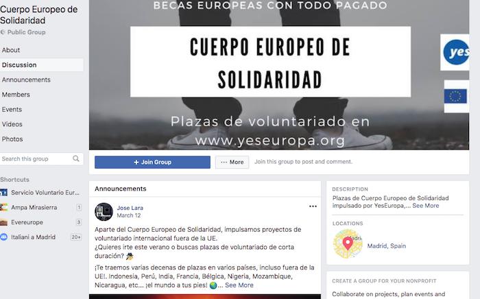 facebook cuerpo europeo solidaridad