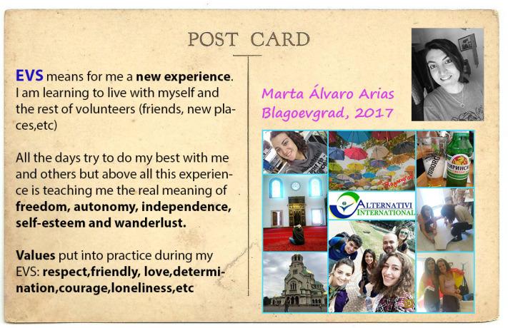 Marta en Bulgaria disfrutando de su voluntariado europeo