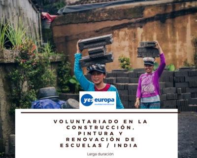 Voluntariado larga duración en India en construcción de escuela