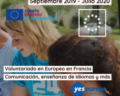 Proyectos voluntariado europeo Francia / Septiembre 2019